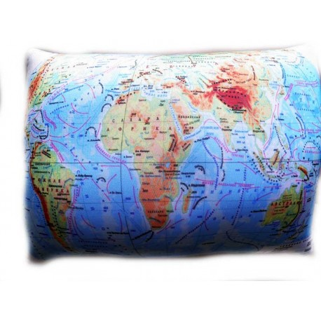 Подушка,интерьерная,Карта мира,Трикотаж,