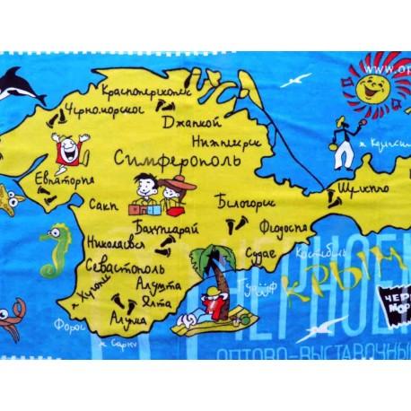Полотенца пляжные, махровые,Карта Крыма,Ассортимент 2, 90х140,