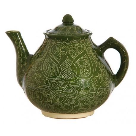 Чайник большой 1,8 л роспись Риштан, зелёный