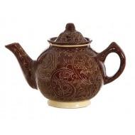Чайник малый 1 л роспись Риштан, коричневый,