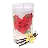 Свеча в стакане ,Любимой дочке,с ароматом ванили