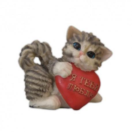 Котенок с сердцем,13х13см