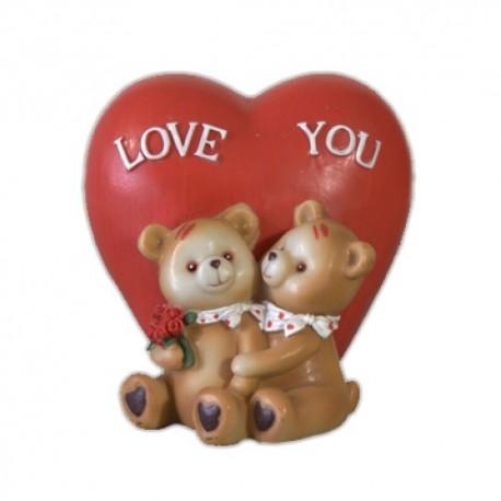 Медвежата и сердце,14х14см
