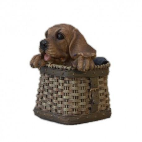 Собака в корзине,13х15см