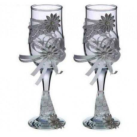 Бокалы свадебные ,Дорога любви,набор 2шт. Высота 20 см белый - серебро