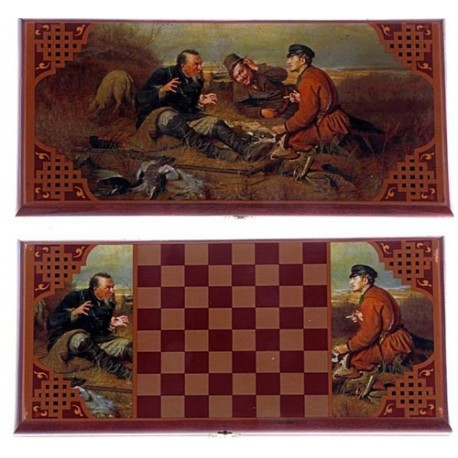 Нарды-шашки малые ,Охотники на привале, 40х20х3,3 см