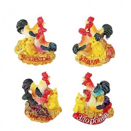 магнит полистоун,Петух курица и цыпленок,Микс