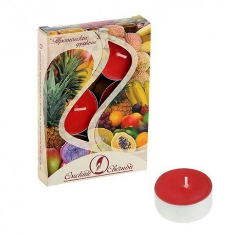 Свеча чайная ароматизированная 12 г,набор 6 шт,тропические фрукты