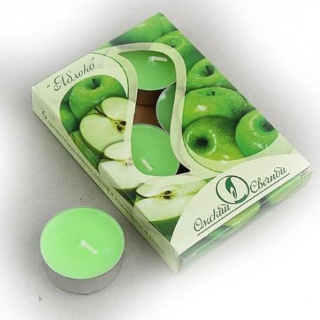 Свеча чайная ароматизированная 12 г,набор 6 шт, яблоко