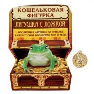 Сувенир-фигурка в кошелек ,Лягушка с ложкой на монете,