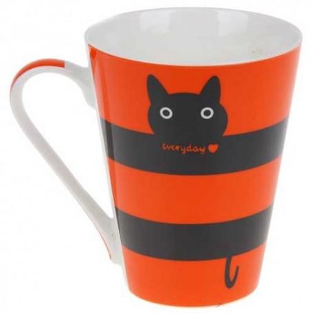 Кружка 320 мл ,Полосатый кот, цвет МИКС