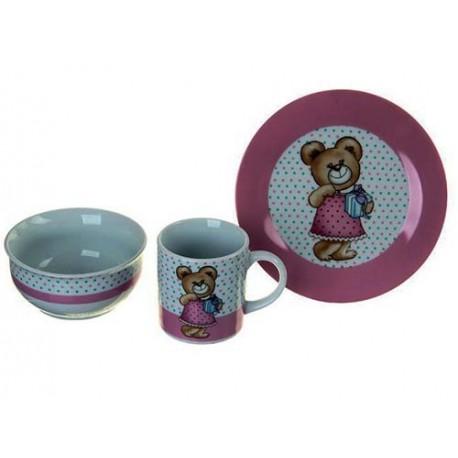 Набор детской посуды Мишка с подарком, 3 предмета