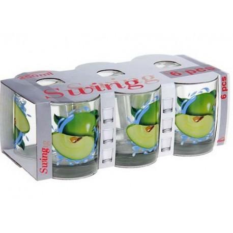 Набор стаканов 6 шт 250 мл ,Яблоко зеленое,