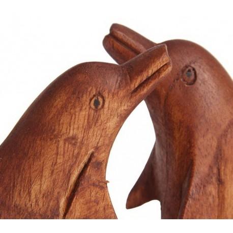 Сувенир дерево Два дельфина коричневый цвет