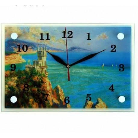 Часы настенные прямоугольные ,Ласточкино Гнездо, Крым, 20х30 см