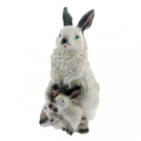 Садовая фигура,Стоящая белая зайчиха с зайчонком,большая,ГИПС