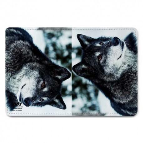 Обложка для паспорта,Волки , натуральная кожа