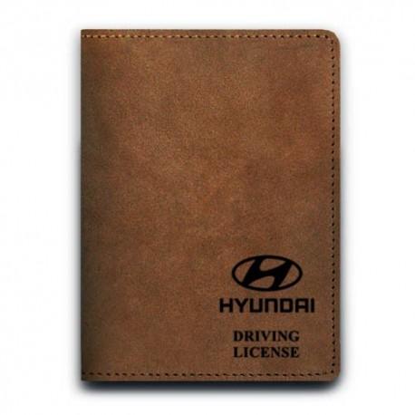 Обложка для автодокументов,HYUNDAI , натуральная кожа