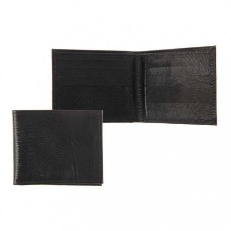 Портмоне на магните, 1 отдел, чёрная игуана,Натуральная кожа