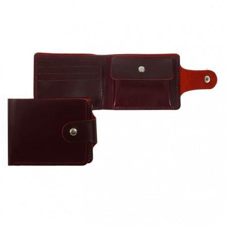 Портмоне на кнопке, 2 отдела, отдел для карт, отдел для монет, бордовый глянцевый,натуральная кожа