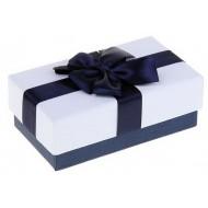 Коробка подарочная, белая крышка с синим бантом