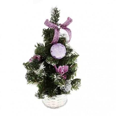 Ёлка настольная в горшочке с фиолетовым декором