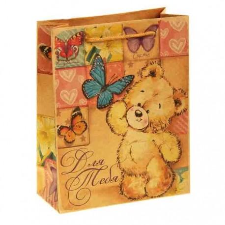 Пакет подарочный крафт ,Мишка с бабочкой. Для тебя,