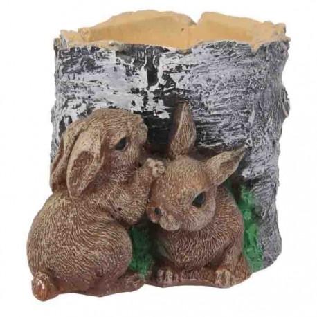 Фигурное кашпо ,2 зайца возле пня,гипс