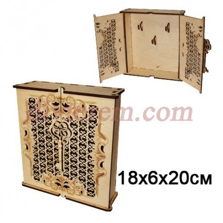 Ключница резная деревянная Шкафчик с Ключом 18х6х20 см