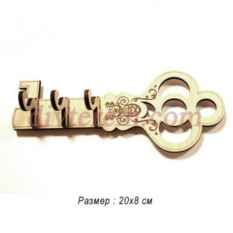 Ключница резная деревянная Золотой ключик 20х8см