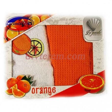 Набор ,LA PERLE Апельсин,2шт,махра-вафель,30х50