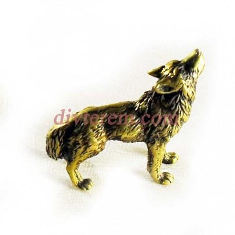 Статуэтка амулет,Воющий волк  ,55-45-15мм ,бронза