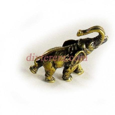 Статуэтка амулет,Слон с поднятым хоботом  ,45-40-20мм ,бронза