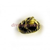 Статуэтка амулет,лягушка на листе лотоса  ,35-30-30мм ,бронза