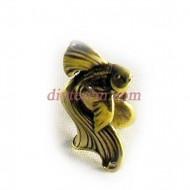 Статуэтка амулет,Золотая рыбка  ,30-20-20мм ,бронза