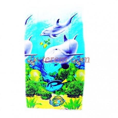 Полотенце банное вафельное,Дельфины,Ассорти