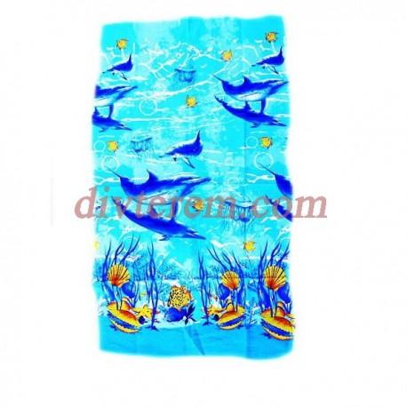 Полотенце банное вафельное,Стая дельфинов,Ассорти