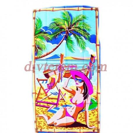 Полотенце банное вафельное,Дама на пляже,Ассорти