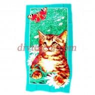 Полотенце банное вафельное,Котёнок и бабочка,Ассорти