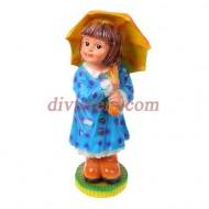 Садовая фигура ,Девочка с зонтиком, синее платье