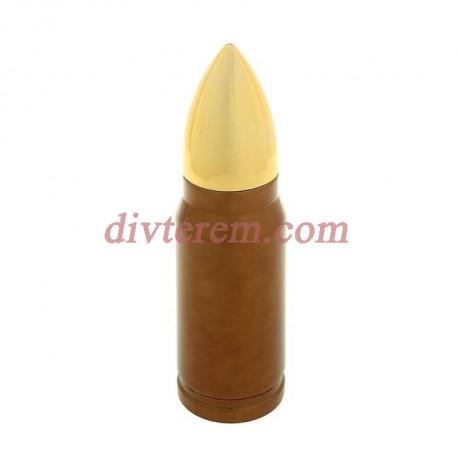 Термос «Пуля», 350 мл, коричневый с золотой крышкой