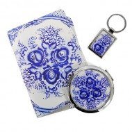 Набор подарочный (обложка для паспорта,брелок,зеркало)