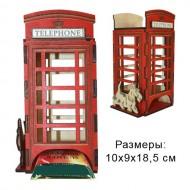 "Шкатулка резная для чая ""Телефонная будка"""