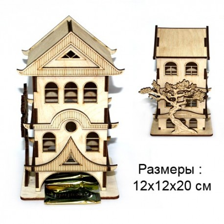 """Шкатулка резная для чая """"Китайский  Домик"""""""