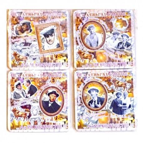 набор костеров в пэт (4шт)-картон 2-х-стор  -Деньги   Золотой теленок