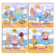 набор костеров в пэт (4шт)-картон 2-х-стор  Крым пляж