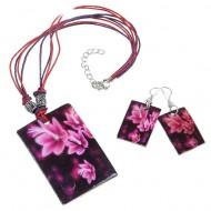 Гарнитур 2 предмета, серьги ,кулон Ракушка, прямоугольник орхидея, цвет черно-розовый