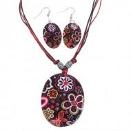 Гарнитур 2 предмета, серьги ,кулон Ракушка,  овал ,ромашки цветной
