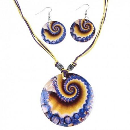 Гарнитур 2 предмета серьги, кулон Ракушка, круг, бесконечность, цвет жёлто-фиолетовый