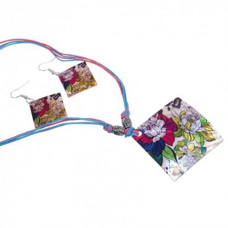 Гарнитур 2 предмета серьги, кулон Ракушка, ромб цветочный, цветной